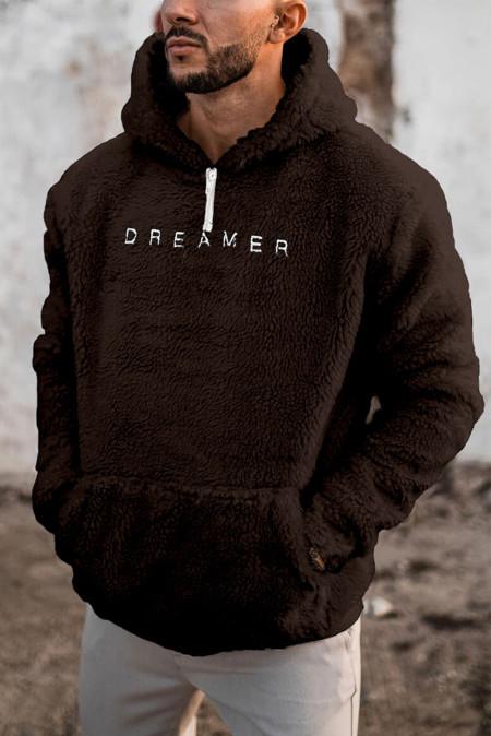 Sudadera con capucha de sherpa de manga larga bordada con letras marrones para hombre