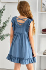 فستان طفل منفوش بخصر إمبراطورية مكشكش باللون الأزرق