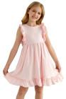 فستان طفل منفوش بطيات الخصر الإمبراطوري باللون الوردي