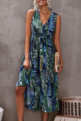 Vestido largo estampado floral con cuello en V y espalda abierta sin mangas verde