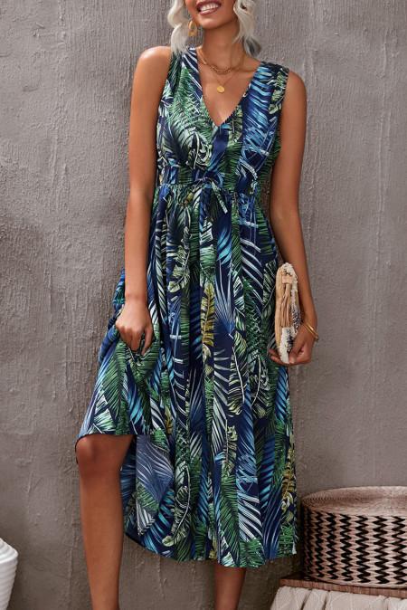 Зеленое платье макси без рукавов с V-образным вырезом и открытой спиной с цветочным принтом