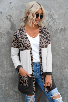 Кардиган с леопардовым узором и карманами