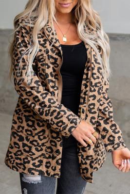 Коричневое леопардовое пальто на молнии с лацканами и воротником на кулиске