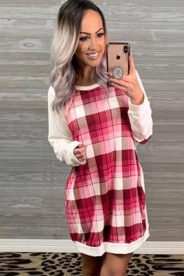 وردي كم طويل منقوشة المرقعة فستان التحول