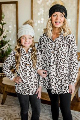 Sweat-shirt en molleton à fermeture éclair quart de léopard Family Matching pour fille blanc