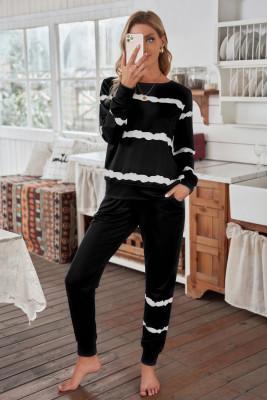 Ensemble de survêtement à manches longues et pantalons de jogging à rayures noires