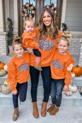 Sweat-shirt assorti pour filles parent-enfant à imprimé citrouille d'Halloween