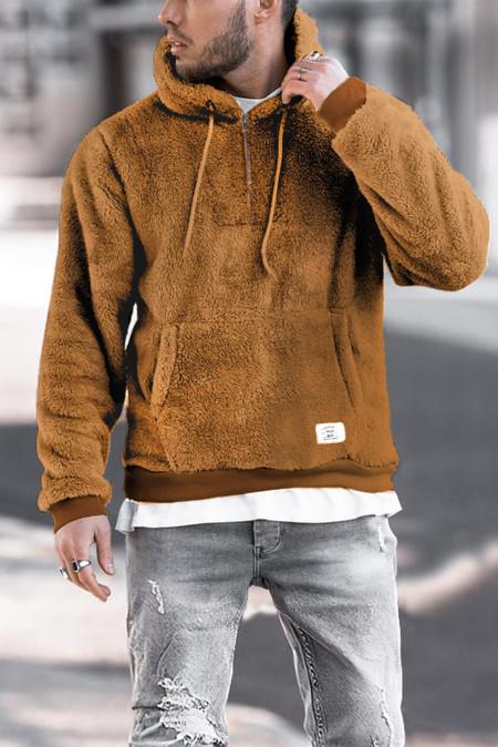 Sudadera con capucha de polar marrón con cremallera 1/4 para hombre con bolsillo