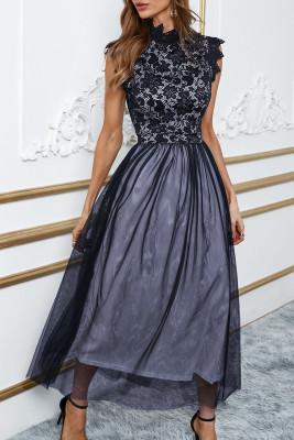 أسود عالية الرقبة بلا أكمام الكروشيه الدانتيل شبكة اصطف فستان سهرة