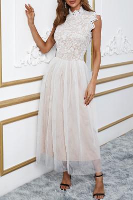 أبيض الرقبة العالية بلا أكمام الكروشيه الدانتيل شبكة اصطف فستان سهرة