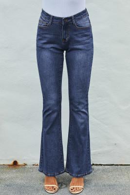 Средние синие моющие винтажные широкие ножки
