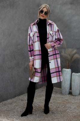 Abrigo de tartán con botones y bolsillo con cuello vuelto rosa
