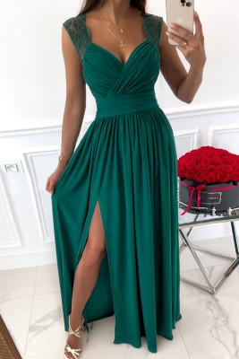 Vestido largo cuello en V con cremallera sin espalda empalme de encaje lateral dividido verde