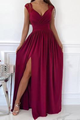 Vestido largo con cuello en V y cremallera sin espalda con empalme de encaje y abertura lateral rojo vino