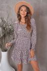 Мини-платье с V-образным вырезом и леопардовым принтом с длинными рукавами и завязками на талии