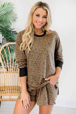Chemisier et short évidés à imprimé léopard Lounge Wear