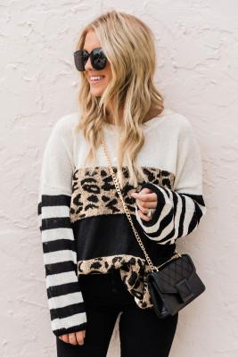 Свитер с открытыми плечами и цветными блоками в полоску с леопардовым принтом и напуском
