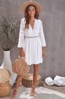 Белое кружевное мини-платье с v-образным вырезом и прозрачными рукавами