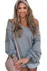 Серая повседневная свободная блузка с v-образным вырезом и широким длинным рукавом