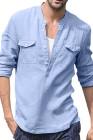 Chemise Homme Bleu Ciel Demi Bouton À Manches Longues Avec Poche