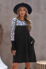 Платье с длинными рукавами и леопардовым принтом