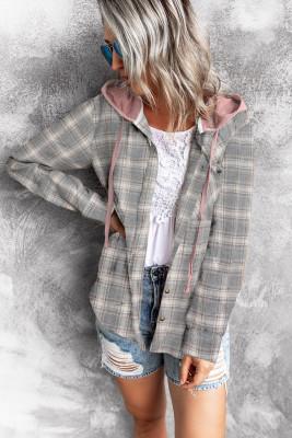 Manteau chemise à capuche kaki avec cordon de serrage