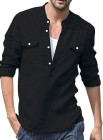 Черная мужская рубашка с длинным рукавом и карманом на пуговицах