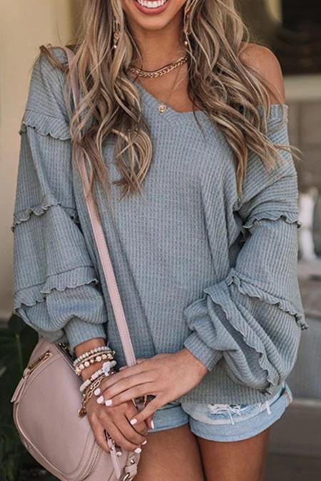 Blusa holgada de manga larga ancha con cuello en V informal gris