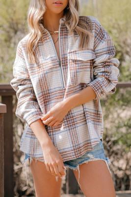 Kariertes Sweatshirt mit Brusttasche und halbem Reißverschluss