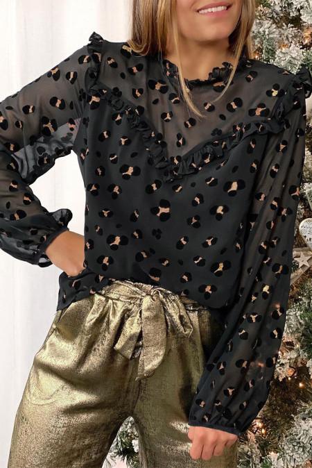 Черная блуза в сеточку с рюшами и леопардовым принтом