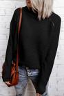 Черный вязаный свитер с высоким воротом на молнии