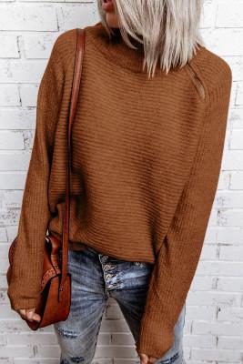 Jersey de cuello alto de punto con cremallera marrón