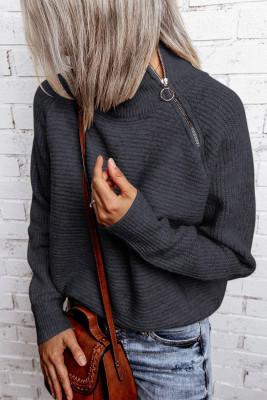 Jersey gris de punto con cremallera y cuello alto