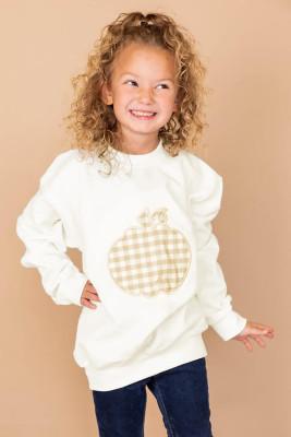Sweat-shirt blanc à carreaux imprimé citrouille pour filles