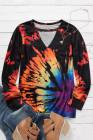 Blusa con cuello de ojo de cerradura de arcoíris con efecto tie dye inverso
