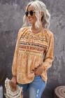 Блузка с длинными рукавами и длинными рукавами с леопардовым принтом и кулиской