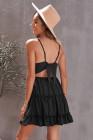 الأسود السباغيتي الأشرطة الخامس الرقبة الدانتيل صد فستان قصير تكدرت