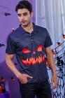 Мужская рубашка с лацканами на Хэллоуин, 3D-печать, рубашка-поло с коротким рукавом, топ