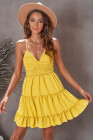 أصفر السباغيتي الأشرطة الخامس الرقبة الدانتيل صد فستان قصير تكدرت