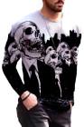 Мужская трикотажная футболка с длинным рукавом и 3D принтом черепа на Хэллоуин