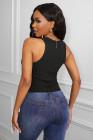 Черная мода Bodycon Tight в рубчик без рукавов