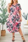 Vestido maxi estampado de sensación estropeada de talla grande rosa
