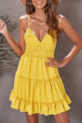 Mini vestido tirantes finos con cuello en V blusa de encaje con volantes amarillo