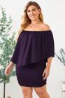 Talla grande, vestido múltiple, poncho, púrpura, mini vestido