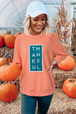 Sudadera con gráfico naranja raglán de Halloween GRACIAS