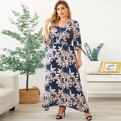 Vestido largo estampado floral azul marino talla grande