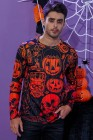 Мужская трикотажная футболка с длинным рукавом и принтом черепа тыквы 3D на Хэллоуин