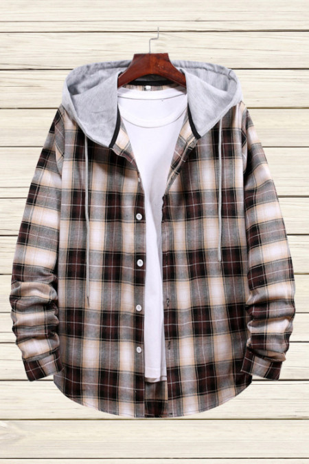 Chemise à capuche à carreaux marron pour hommes
