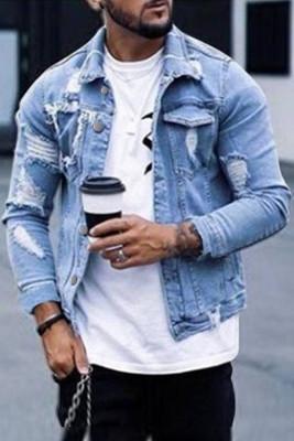 Голубые рваные мужские джинсовые куртки на пуговицах