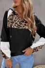 Sudadera negra con estampado de leopardo y costuras en contraste